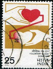Francobolli - Donazione e trasfusione di sangue - Blood donation and transfusion India 1976