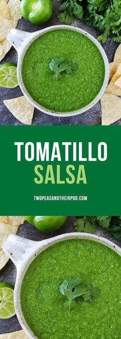 Tomatillo Salsa-this easy blender salsa verde can be made in minutes! It is great with tortilla chips, tacos, burritos, or any Mexican meal!
