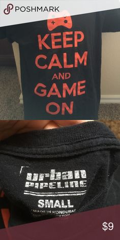 Keep Calm & Game On Tee Size S Keep Calm & Game On Tee Size S 6-7. Red font. Non-Smoking, No Rips or Tears Shirts & Tops Tees - Short Sleeve