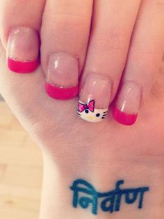 Hello, Pretty..er, Kitty!  Okay, this kind of artwork takes talent. So unless you're crazy-talented when it comes to drawing designs on your tips, we suggest going to a professional nail salon filled with artists who can create mini masterpieces on your nails.