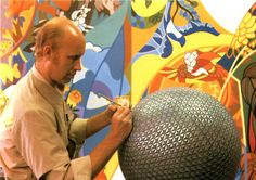 """An artist paints a model globe to approximate the shiny facets of aluminum """"skin"""" that will encase Spaceship Earth Tom Simpson, Epcot Center, Spaceship Earth, New Words, Scale Models, Nostalgia, Disneyland Parks, Artist, Painting"""