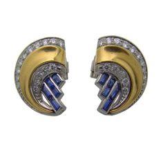 Art Deco 18K Yellow Gold, Platinum, Diamond & Sapphire Earrings