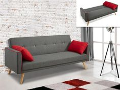 Canapé 3 places convertible en tissu DARVEL - Gris et coussins rouge Banquette, Love Seat, Couch, Furniture, Design, Home Decor, Products, Sleeper Couch, Tela