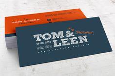 typografische retro trouwkaarten