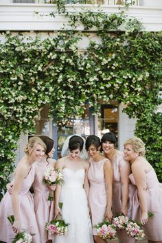 Light pink bridesmaids- shop these Alfred Sung styles at Brideside.com #brideside #wedding #bridesmaid #dresses #pink #alfredsung