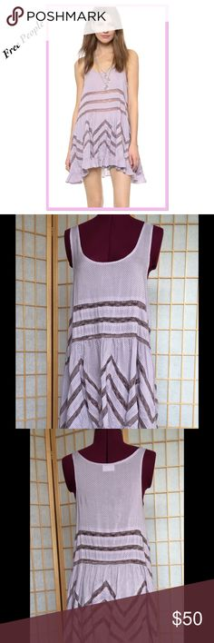 "Free People Rare Lavender Trapeze Dress NWT. Uneven hemline. 32"" at shortest 36"" at longest point. Semi sheer. You might want to wear a short slip underneath. Free People Dresses High Low"