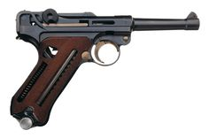 """This is a factory demonstrator cutaway version of the Mauser-made P.08 commercial contract Luger marked and delivered to the Persian military. The Shah's crown and lion are on the chamber, and the toggle is marked """"Mauser"""" in Farsi. The factory delivered about 2,000 pistols under a 1936 order (split between four-inch regular and eight-inch """"artillery"""" barrels). These examples are considered very rare."""