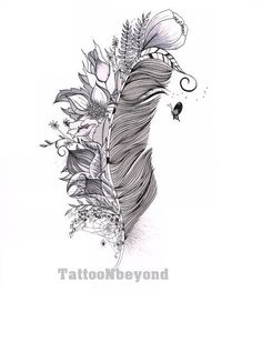 Feather Free Tattoo Stencil - Free Tattoo Feather Designs For Women - Customized Feather Tattoos - Free Feather Tattoos - Free Feather Printable Tattoo Stencils - Free Feather Printable Tattoo Designs Neue Tattoos, Body Art Tattoos, Sleeve Tattoos, Tatoos, Cover Up Tattoos, Feather Drawing, Feather Art, Tattoo Feather, Mandala Feather