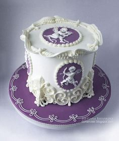 Purple and White Cupid Cake  ~ all hand made and edible!