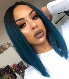 Blue hair, who this? 🤷🏽♀️💙 This bomb wig is from Blue hair, who this? 🤷🏽♀️💙 This bomb wig is from in 'Yara' 💙Eyebrows Anastasia Beverlyhills Norvina Schaper in dark… Blue wig. Long curly mermFeline Blue Wig Black Valentines Special B Dark Ombre Hair, Dark Blue Hair, Ombre Hair Color, Blue Hair Black Girl, Teal Ombre Hair, Dark Blonde, Frontal Hairstyles, Wig Hairstyles, Wedding Hairstyles