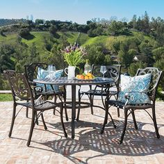 Alfresco Outdoor Cast Aluminum Circular Dining Set by Christopher Knight Home (Bronze), Brown, Size Sets, Patio Furniture Outdoor Dining Set, Patio Dining, Outdoor Decor, Dining Table, Dining Sets, Kitchen Dining, Dining Chairs, Large Backyard, Small Patio