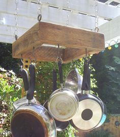 Rustic Wood Mini Pot Rack, Pot Holder, From Upcycled Oak Pallet Lumber, 15 X 15