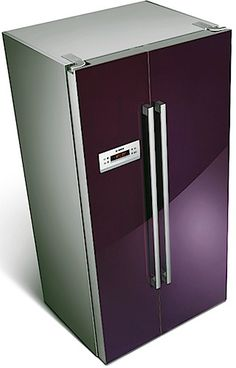 purple refrigerator. #kitchen