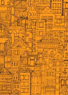 Houses - orange Art Print by _AS_ | Society6