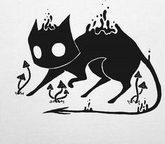 ✱☽ * ʎoɾ *☽ ✱ Creepy Drawings, Creepy Art, Cute Drawings, Illustration Tattoo, Posca Art, Halloween Art, Ink Art, Doodle Art, Oeuvre D'art