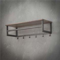 Kapstok 'Jeanne' 80cm, kleur greywash Metalarte, Welded Furniture, Smart Storage, Entryway Bench, Plank, Wood Projects, New Homes, Room Decor, Marcel