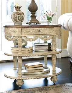 This hand carved, French White Side Table, is the epitome of loveliness!