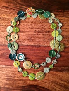Green Button Necklace by CaitlynMazden on Etsy