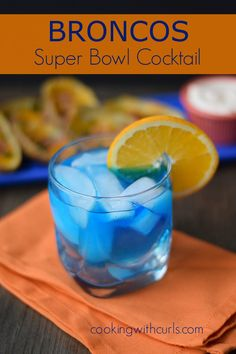 "The ""Broncos"" cocktail contains Jones' Cream Soda, vodka, and blue curacao (orange flavored liqueur), so it has a creamsicle kind of taste."