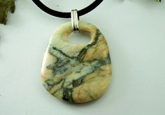 Necklace Stone Pebble Jewelry  Beach Stone by naturalstonecutter