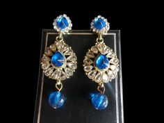 Indian Ethnic Earrings Copper Jewelry Traditional Beautiful Blue Polki Stone #RK