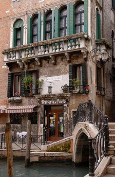~ Venice, Italy ~ Trattoria al Ponte, on Calle Larga.