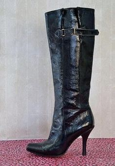 JIMMY CHOO Textured Patent Leather Boots 35.5/5