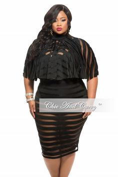 2-Piece Skirt and Cape Top Set with Sheer Stripes in Black – http://chicandcurvy.com