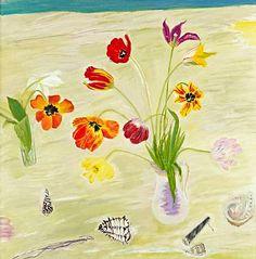 Tulips and Shells by Elizabeth Blackadder Tulips, Poppies, Blackadder, Life Symbol, Amazing Paintings, Lights Background, Painting & Drawing, Still Life, Illustration Art