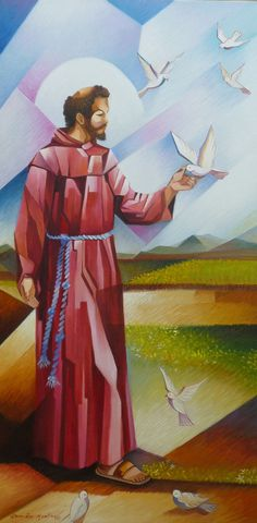 Francis of Assisi St Francisco, Holy Art, Clare Of Assisi, Cubist Paintings, St Clare's, Christian Artwork, Francis Of Assisi, Jesus Pictures, Collaborative Art