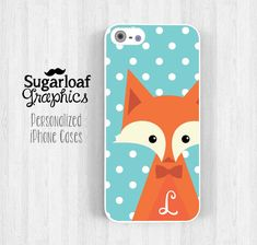 Cute Fox Personalized Initial iPhone 5 Case iPhone 5s iPhone 5c Case iPhone 4 iPhone 4s Samsung Galaxy S3 S4 Tiffany Blue Polka Dot am05