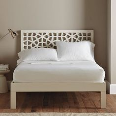 Tall Wood Bed Frame, Cal King, White Lacquer