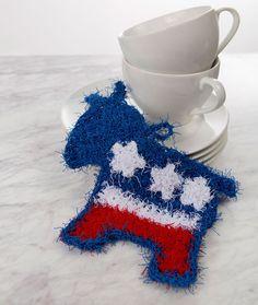 Patriotic Donkey Scrubby Free Crochet Pattern in Red Heart Scrubby yarn
