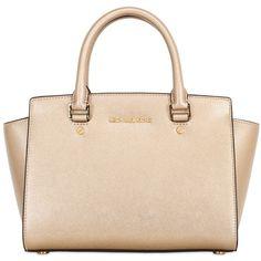 MICHAEL MICHAEL KORS Medium Selma Metallic Saffiano Bag - Gold ($390) ❤ liked on Polyvore featuring bags, handbags, shoulder bags, purses, accessories, bolsas, borse, gold, gold shoulder bag and beige purse
