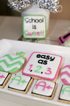 School Is Sweet - Chevron Apple Sugar Cookies and Bite Size Sugar Cookies by Snickety Snacks