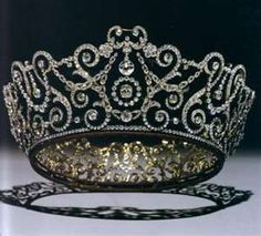 """The Delhi Durbar Tiara:  Made by Garrards, especially for Queen Mary during the Delhi Durbar on December 12,1911. Durbar is Hindi, for a 'ceremonial gathering to pay homage'. The gathering was to install King George V and Queen Mary as Emperor and Empress of India. King George V admired this piece and referred to it as """"May's best tiara"""". It was originally worn with detachable emerald drops.  The tiara is loaned to Camilla, Duchess of Cornwall by the Queen."""