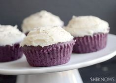Lavender Cupcakes with Earl Grey Icing. The cupcakes are made with butter, sugar, eggs, vanilla, red and blue food coloring, flour, baking powder, dried lavender, and light cream. The frosting is made with butter powdered sugar, and steeped Earl Grey tea.
