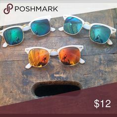 NWT White Clubmaster Mirrored Sunglasses NWT White Clubmaster Mirrored Sunglasses. CHOOSE from blue, blue/green, or red/orange. Accessories Sunglasses
