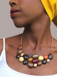 Brown bib necklace genuine italian leather custom by Shulili4U