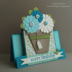 7/15/2012; Helen at 'H2 Designs' mixing the mini flower pot with centre step card with link to the tutorial