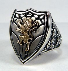 ANTIQUE KNIGHT LION CREST 14K GOLD SILVER ORNATE RING