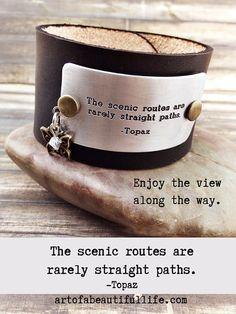 Boho Leather Cuff Bracelet  Inspirational Quote  by SimplyTopaz
