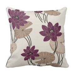 Burgundy & Beige Flowers - American Mojo Pillow  Save 15% on all pillow orders! LAST DAY Use Code: ZAZTAXSAVING