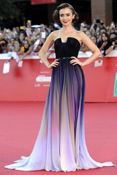 Lily Collins wearing purple ombré Elie Saab dress