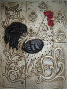 FRENCH-COUNTRY-ROOSTER-TUSCAN-FLEUR-DE-LIS-WALL-PLAQUE-PLATE-ART