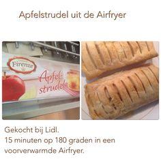 Apfelstrudel uit de Airfryer. 15 minuten op 180 graden. AK Actifry, Air Fryer Recipes, Slow Cooker, Food And Drink, Snacks, Air Flyer, Cooking, Desserts, Apple Strudel