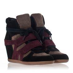 Womens Bea Wedge Sneaker Multi/Prune Suede 312333