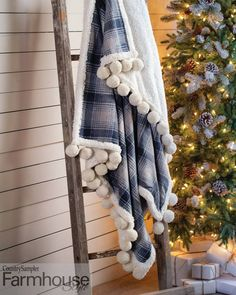 """Give a standard fleece throw a fun winter update with snowball trim! To find more fun and easy ways to bring a cozy, comfy feeling to your décor, check out the """"Winter Warm-Ups"""" article in our Holiday 2020 issue. Jolly Holiday, Fleece Throw, Snowball, More Fun, Farmhouse Style, Ladder Decor, Blanket, Farm House, Front Porch"""