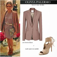 Olivia Palermo in mauve silk dress with mauve one button blazer and beige suede open toe sandals