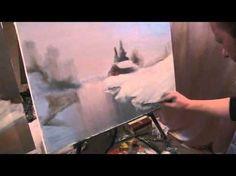 Научиться рисовать зимний лес, речку , Игорь Сахаров, живопись для начинающих, уроки рисования - YouTube